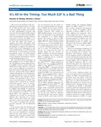 Plos Genetics : It's All in the Timing ;... by Horwitz, Marshall S.