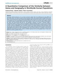 Plos Genetics : a Quantitative Compariso... by Williams, Scott M.