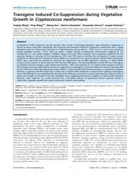 Plos Genetics : Transgene Induced Co-sup... by Copenhaver, Gregory P.
