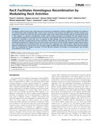 Plos Genetics : Recx Facilitates Homolog... by Burkholder, William F.