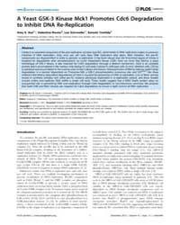 Plos Genetics : a Yeast Gsk-3 Kinase McK... by Copenhaver, Gregory P.