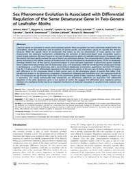 Plos Genetics : Sex Pheromone Evolution ... by Zhang, Jianzhi