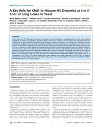 Plos Genetics : a Key Role for Chd1 in H... by Lieb, Jason D.