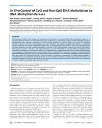 Plos Genetics : in Vivocontrol of Cpg an... by Schübeler, Dirk