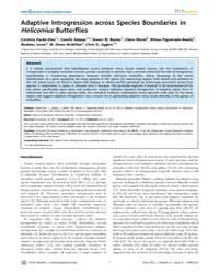 Plos Genetics : Adaptive Introgression A... by Kronforst, Marcus R.