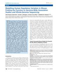 Plos Genetics : Modelling Human Regulato... by Beier, David R.