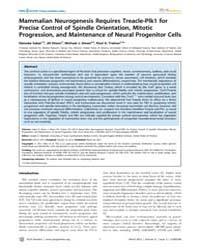 Plos Genetics : Mammalian Neurogenesis R... by Takahashi, Joseph S.