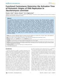 Plos Genetics : Functional Centromeres D... by Newlon, Carol S.