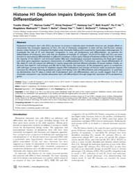Plos Genetics : Histone H1 Depletion Imp... by Copenhaver, Gregory P.