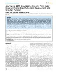 Plos Genetics : Neurospora Cop9 Signalos... by Wei, Ning