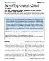 Plos Genetics : Discovering Thiamine Tra... by Liu, Jun