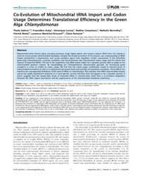 Plos Genetics : Co-evolution of Mitochon... by Zhang, Jianzhi