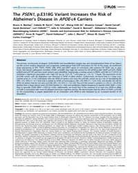 Plos Genetics : the Psen1, P.E318G Varia... by Myers, Amanda J.