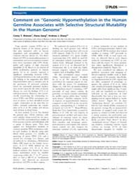 Plos Genetics : Comment on ''genomic Hyp... by Cooper, Gregory M.