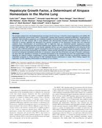 Plos Genetics : Hepatocyte Growth Factor... by Shapiro, Steven D.