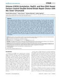 Plos Genetics : Histone H3K56 Acetylatio... by Klein, Hannah
