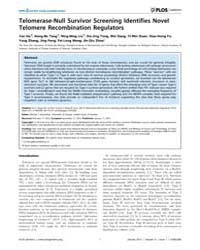 Plos Genetics : Telomerase-null Survivor... by McEachern, Michael J.