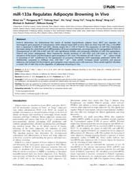 Plos Genetics : Mir-133A Regulates Adipo... by Kajimura, Shingo
