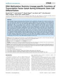 Plos Genetics : Dna Methylation Restrict... by Greally, John M.