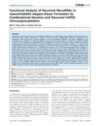 Plos Genetics : Functional Analysis of N... by Ruvkun, Gary