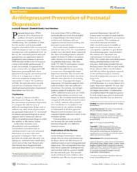 Plos Medicine : Antidepressant Preventio... by Howard, Louise, M.