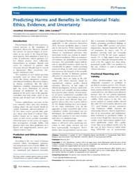 Plos Medicine : Predicting Harms and Ben... by Kimmelman, Jonathan