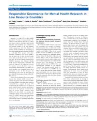 Plos Medicine : Responsible Governance f... by Yasamy, M. Taghi