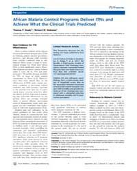 Plos Medicine : African Malaria Control ... by P. Eisele, Thomas