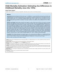 Plos Medicine : Child Mortality Estimati... by Byass, Peter