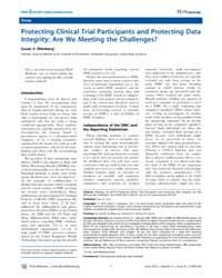 Plos Medicine : Protecting Clinical Tria... by Susan S. Ellenberg