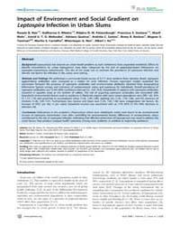 Plos Neglected Tropical Diseases : Impac... by Gurtler, Ricardo, E.