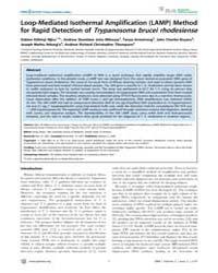 Plos Neglected Tropical Diseases : Loop-... by Aksoy, Serap