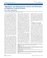 Plos Neglected Tropical Diseases : ''man... by Hotez, Peter, J.