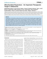 Plos One : Mitochondrial Respiration - a... by Santos, Janine