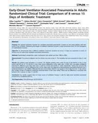 Plos One : Early-onset Ventilator-associ... by Spellberg, Brad