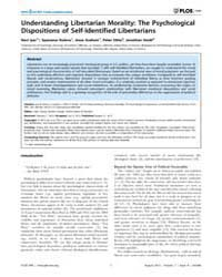 Plos One : Understanding Libertarian Mor... by Young, Liane