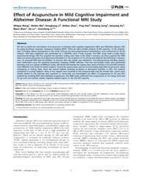 Plos One : Effect of Acupuncture in Mild... by Zuo, Xi-nian
