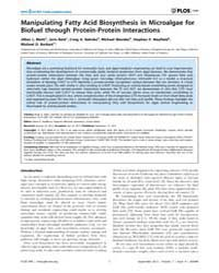 Plos One : Manipulating Fatty Acid Biosy... by Rozhkova, Elena, A.