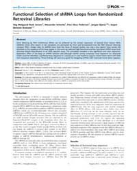Plos One : Functional Selection of Shrna... by Rossi, John, J.