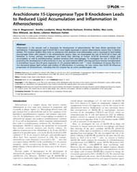 Plos One : Arachidonate 15-lipoxygenase ... by Schulz, Christian