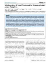 Plos One : Scholarometer ; a Social Fram... by Ouzounis, Christos, A.