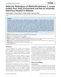 Plos One : Molecular Relatedness of Meth... by Smith, Tara, C.