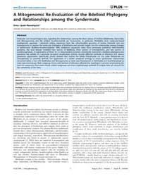 Plos One : a Mitogenomic Re-evaluation o... by Escriva, Hector