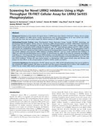 Plos One : Screening for Novel Lrrk2 Inh... by Kahle, Philipp, J.