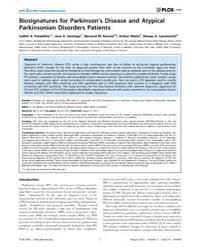 Plos One : Biosignatures for Parkinson's... by Mosley, R. Lee