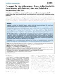 Plos One : Preserved Ex Vivo Inflammator... by Ratner, Adam, J.