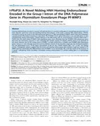 Plos One : I-pfop3I ; a Novel Nicking Hn... by Xu, Shuang-yong