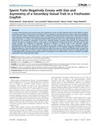 Plos One : Sperm Traits Negatively Covar... by Walker, Sean