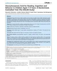 Plos One : Docosahexaenoic Acid for Read... by Scott, James, G.
