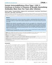 Plos One : Human Immunodeficiency Virus ... by Gray, Clive M.